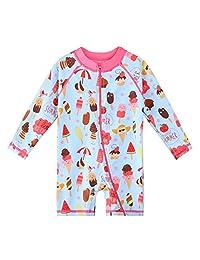 HUAANIUE Baby/Toddler Girl Swimsuit Long Sleeve Rashguard Swimwear