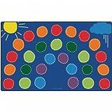 Carpets for Kids 8434 Rainbow Seating Carpet x Rectangle x, 8'4'' x 13'4'', Blue