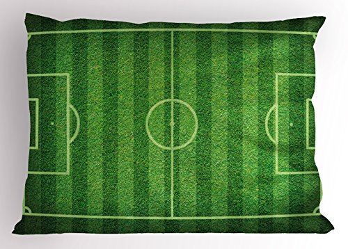 Lunarable Boy's Room Pillow Sham, Realistic Green Grass Soccer Field Sports Hobby Competition Field, Decorative Standard Queen Size Printed Pillowcase, 30 X 20 Inches, Lime Green Fern Green by Lunarable
