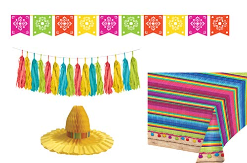 Serape Fiesta Party Decoration Supplies: Bundle Includes: Papel Picado Banner, Tissue Garland Kit, Centerpiece, and a Tablecover