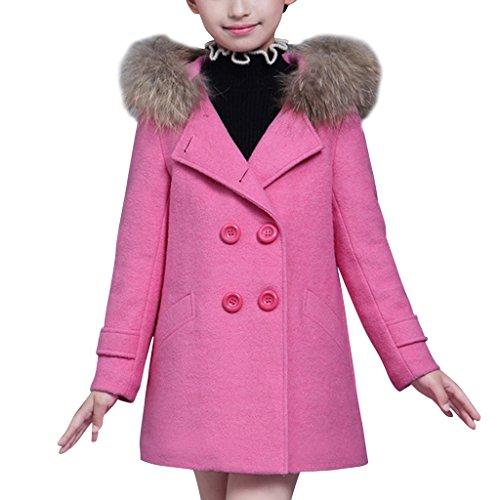 YISUMEI Big Girls Coats Thicker Wool Hooded Pink M (Pink Girls Coat)