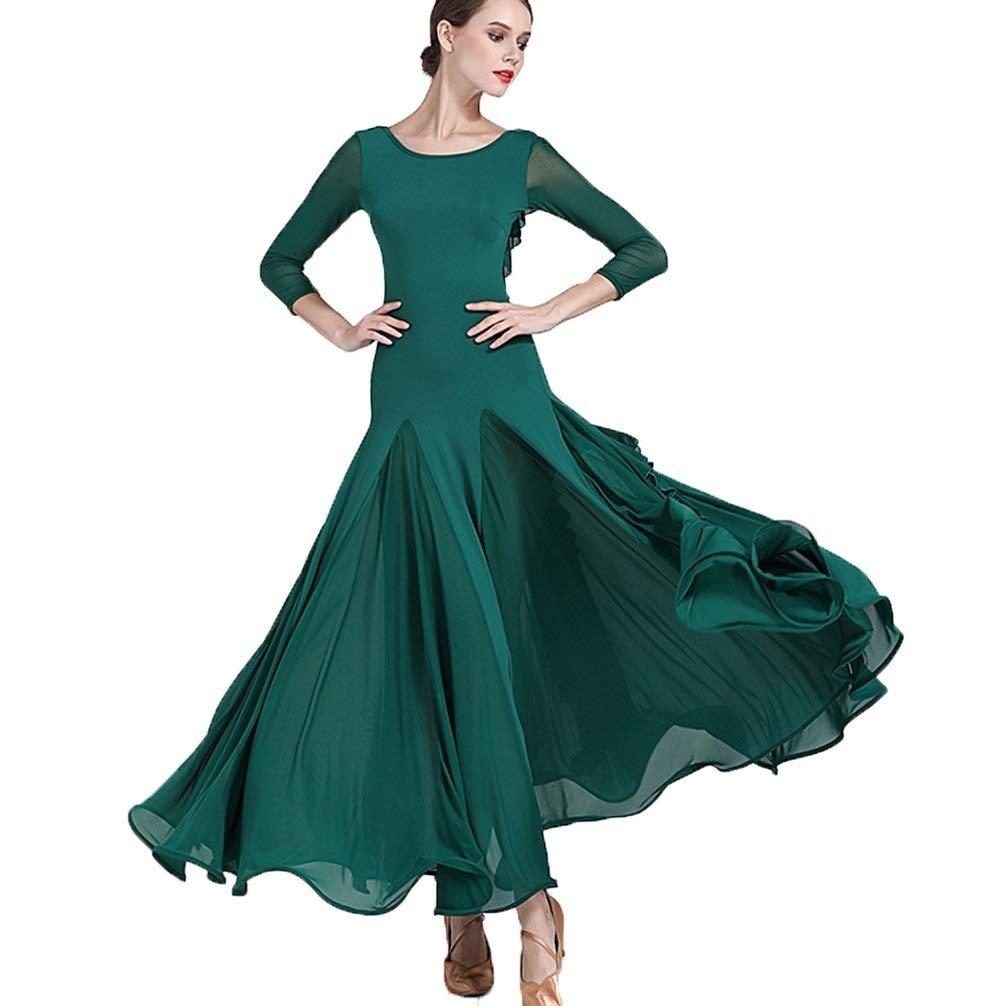 Le Vert Foncé CX Robe De Danse élégante à Manches Longues pour Femmes Robe De Compétition De Danse Moderne Tango Amitié Danse Norme Nationale Danse Grande Balançoire Jupe M