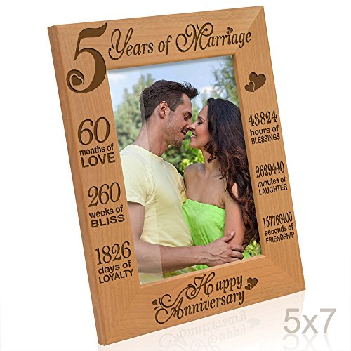 Kate Posh - 5 Years of Marriage Photo Frame - Happy 5th Anniversary Gift Wood - Engraved Natural Solid Wood Picture Frame (5x7-Vertical) (Anniversary Year Gift Five)