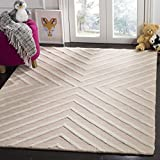 Safavieh Kids Collection SFK920P Handmade Pink and Ivory X-Pattern Wool Area Rug (4' x 6')