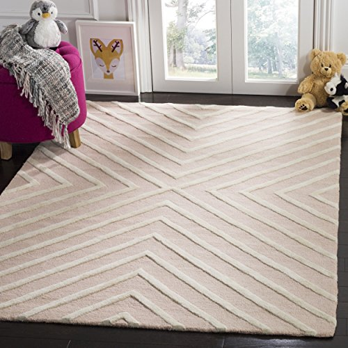 Safavieh Kids Collection SFK920P Handmade Pink and Ivory X-Pattern Wool Area Rug (4′ x 6′) Review