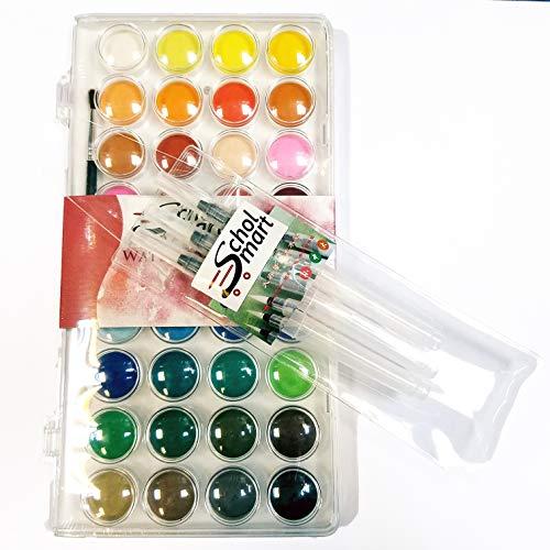 (SCHOLMART Watercolor Palette, Watercolor Sets, Paint Set Beginner Artist Palettes, 36 Colors, Includes 3 Water Coloring Brush Pens Set (36 Colors, Water Brush (3-Sizes)))