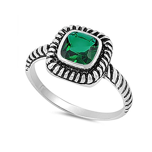 - Blue Apple Co. Bezel Solitaire Twisted Cable Oxidized Design Fashion Ring Princess Cut Simulated Green Emerald 925 Sterling Silver