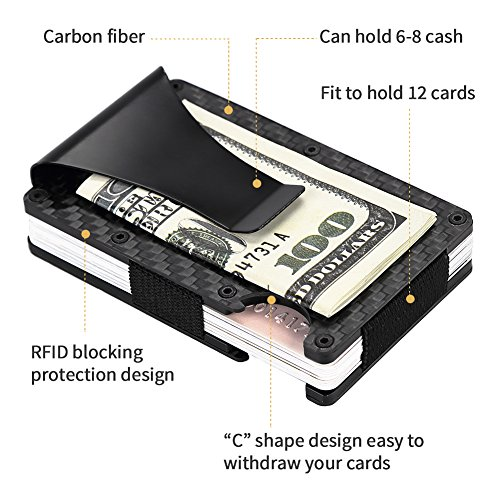 Card Fibre Bottle RFID Blocking Front Money Clip RFID Carbon amp; With Wallet EDC Black Minimalist Card Wallet Fibre Travel Holder Men Wallet Slim Wallet Wallet Pocket Carbon Mens Front Pocket Opener for 58xnwq10A