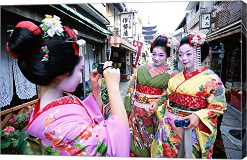 Three geishas, Kyoto, Honshu, Japan (Taking Pictures) Canvas Art Wall Picture, Gallery Wrap, 22 x 14 inches
