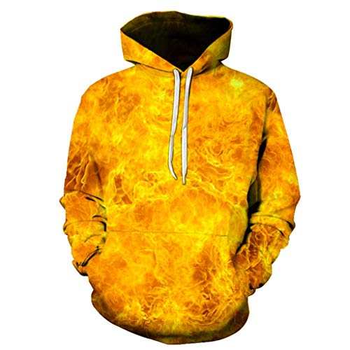 iLXHD Mens Casual Scary Lover 3D Print Party Long Sleeve Hoodie Top Blouse Yellow from iLXHD