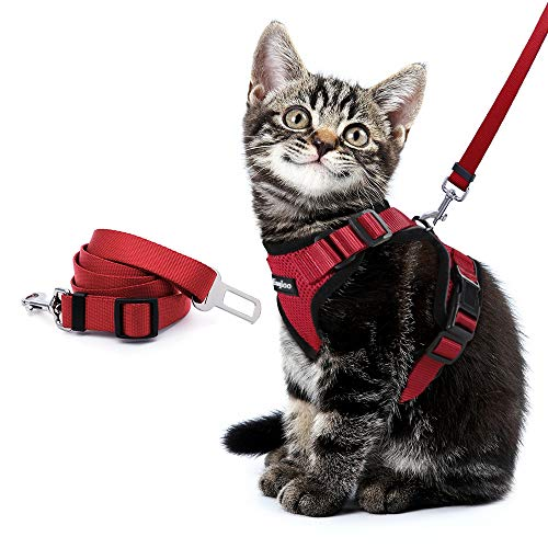 Eagloo Cat Harness and Leash Set for Walking with 2-in-1 Leash and Car Seat Belt Escape Proof Adjustable Harness for Cats Soft Mesh Cat Vest with Reflective Strap for Kitten Rabbit Puppy Red Small from Eagloo