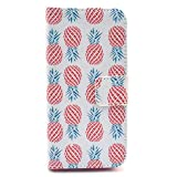 iPhone SE Case,iPhone 5S Case,Gift_Source [Happy Pineapple] [Kickstand Flip] [Card Slot] Cute PU Leather Wallet Case Soft TPU Case Folio Flip Case Cover for Apple iPhone SE / iPhone 5/5s