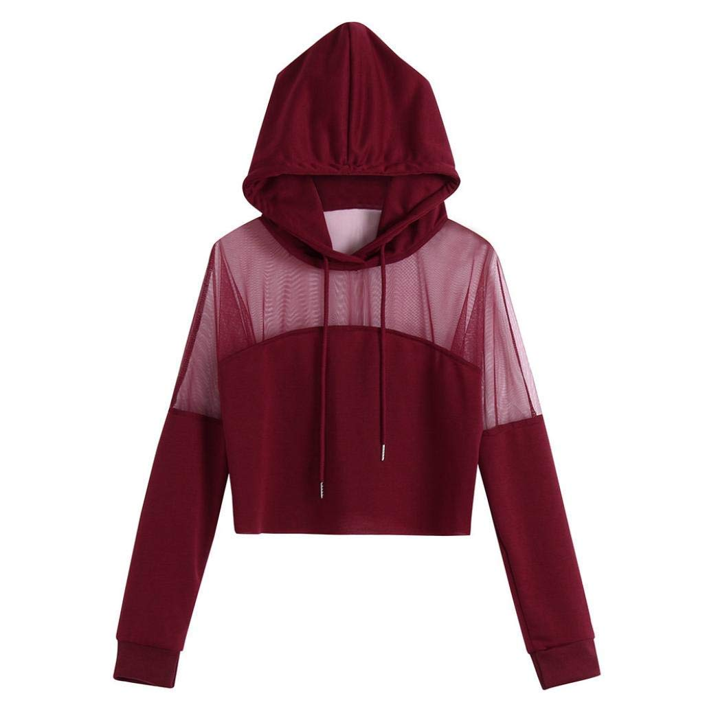 Weinred Clothing Clothing Women Plus Size Solid Blouse Splice Shirt Long Sleeve Hoodie Fashion Red Black Casual Sexy Wild Tight for Women (color   black, Size   L)