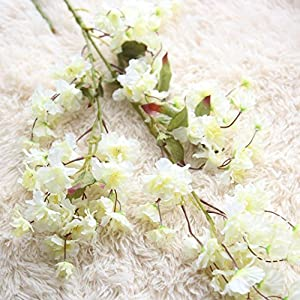 Amiley 1 piece Artificial Fake Cherry Blossom Silk Flower Bridal Hydrangea Home Garden Decor (A) 1