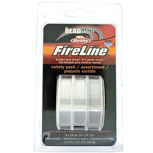 Braided Bead Thread - Fireline Microfused Braided Bead Thread, Variety Pack, 3 x 15 Yard spools, Clear, 4,6,8 lb strength