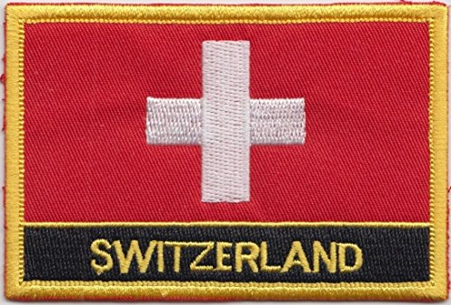 """Switzerland Flag Patch/Embroidered Travel Sew-On by Backwoods Barnaby (Swiss Iron On w/Words, 2"""" x 3"""")"""