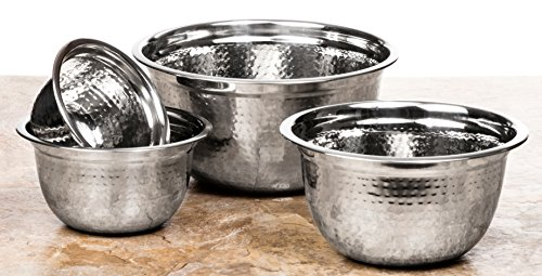 4 Pc Chef Quality Stainless Steel Mixing Bowls w/Hammered Look - Prep Bowls or Mixing Bowl Set w/Flat Rim & Base