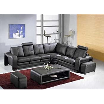 Amazon.Com: T35 Modern Black Sectional Sofa With 3 Headrests