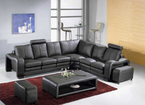 Vig Furniture Ev 3330 - Modern Black Leather Sectional Sofa (Real Leather Black Sectional Sofa)