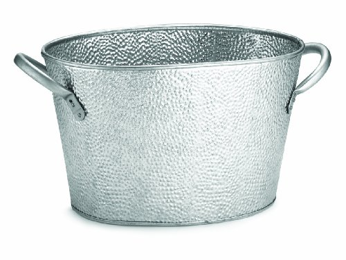 TableCraft GT159 Oval Stainless Steel Beverage Tub with Galvanized Pebbled Texture, 15 by 9 by 7.5-Inch ()