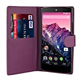 32nd® Book wallet PU leather case cover for Huawei Nexus 6P (2015), including touch stylus - Purple
