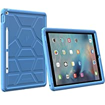 Poetic TurtleSkin iPad Pro 12.9 Case with Heavy Duty Protection Silicone and Sound-Amplification Feature Cover for Apple iPad Pro 12.9(1st Gen 2015)/iPad Pro 12.9(2nd Gen 2017) Blue