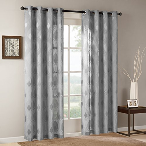 Madison Park Sheer Curtains for Bedroom, Transitional Grey Grommet Sheer Curtain for Living Room, Adele Jacquard Modern Light Curtain Sheers, 50X95, 1-Panel Pack