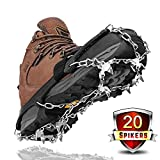 Upgraded Version Crampons,Leolee Universal 20 Teeth Ice Grips Snow Spikes Walk Traction Cleats