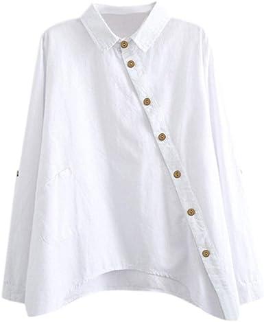 Camisa de Manga Larga de Las Nuevas Mujeres de algodón Casual Color sólido botón señoras