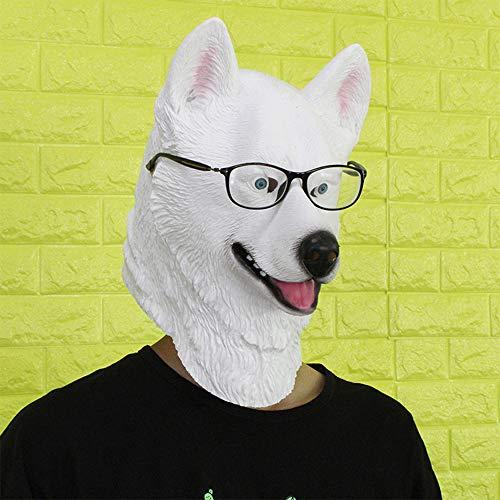 Zhanghaidong Latex Canine Animal Halloween Huskie Fancy Dress Costume Accessory Unisex-Adult New Halloween Ball Performance Mask Animal Latex Headgear