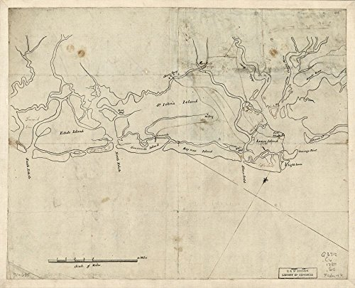 1780 map Sketch of The Coast from South Edisto to Charles Town, 1st March 1780 Size 20x24 - Ready to Frame  Coasts Sea Islands South Carolina  (Carolina Pottery Barn South)