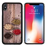 MSD Premium Apple iPhone X Aluminum Backplate Bumper Snap Case Tarnished silver spoons containing black white pink and green peppercorns wood IMAGE 21807043