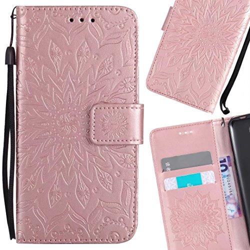 LEMORRY Nokia 5 Custodia Pelle Cuoio Flip Portafoglio Borsa Sottile Bumper Protettivo Magnetico Morbido Silicone TPU Cover Custodia per Nokia 5, Fiorire (Porpora) Oro rosa
