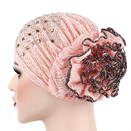 Women's Winter Hat Lace Butterfly Decorate Beanie Caps Lady Skullies Turban Cap (Pink 1) (Wool Hat Lace)