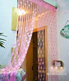 Handloomwala Set Of 2 Polyester Pink Beautiful Summer Heart Net Curtains