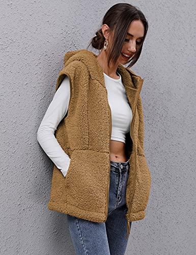 TFSDOD Womens Fuzzy Sherpa Fleece Vest Cozy Sleeveless Sweater Vests with Pocket Womens Fleece Zip up Hooded Waistcoat Outerwear Khaki S