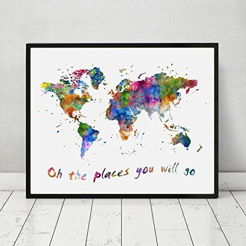 Amazon oh the places you will go quotes the world map wall art oh the places you will go quotes the world map wall art watercolor world map art gumiabroncs Image collections