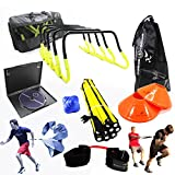 New Speed and Agility Training Kit with Free Carry Bag and DVD | Agility Hurdles, Cones, Speed Ladder, Reaction Ball, Lateral Resistor | Football, Soccer, Basketball, Volleyball, Rugby, Hockey, MMA | Complete Multi Sports