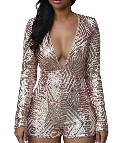 Made2envy Gold Sequin Long Sleeves Open Back Romper (XL, Nude)