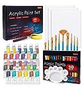 46 Pack Acrylic Paint Set, Shuttle Art 30 Colors Acrylic Paint with 10 Paint Brushes 3 Painting C...