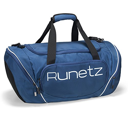 Runetz Gym Bag for Women and Men Duffle Bag with Wet Pocket, Travel Gym Bag with shoe compartment Duffel Bag - 20 inch Large - NAVY ()