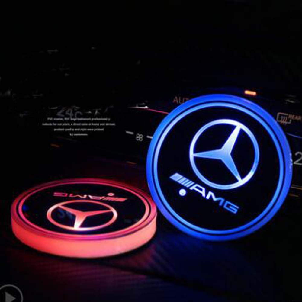 AMG LED Cup Holder Lights, Mercedes-Benz AMG Accessories Car Logo Coaster with 7 Colors Changing USB Charging Mat, Luminescent Cup Pad Interior Atmosphere Lamp Decoration Light (2 PCS) Yuanxi Electronics