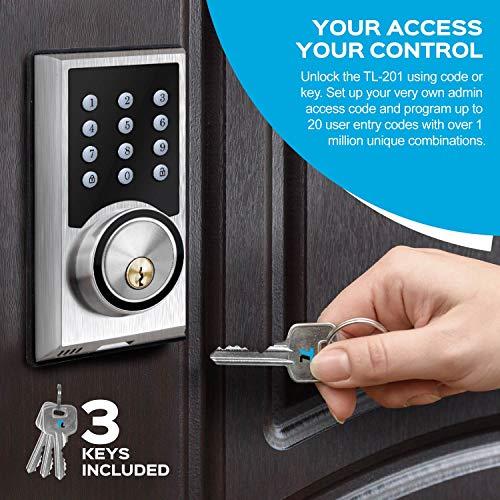 TURBOLOCK TL-201 Electronic Keypad Deadbolt Keyless Entry Door Lock w/Code Disguise, 21 Programmable Codes, 1-Touch Locking + 3 Backup Keys, Bronze by TURBOLOCK (Image #1)