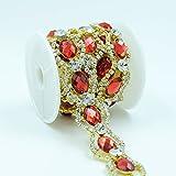 Seasofbeauty Clear Rhinestone Red Crystal Tone Bridal Dress Costume Trim 1 Yard Gold
