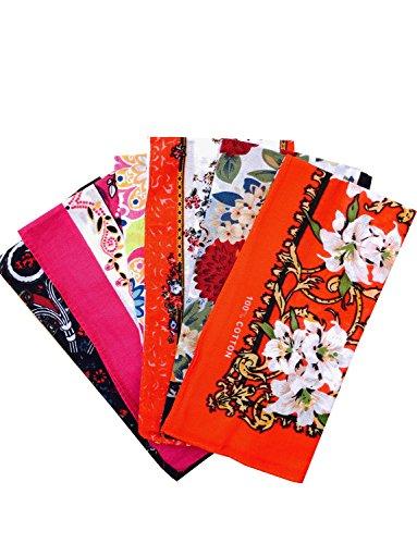 COCOUSM Ladies Retro Style Vintage Floral Print Cotton Handkerchiefs Pack