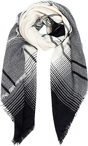 Blanket Scarf Women Wrap Infinity Shawl - Black Wool Scarves Tartan Oversized Long