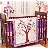 Plum Owl Meadow 5 Piece Baby Crib Bedding Set with Bumper by Baby's First