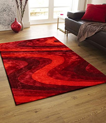 (Rug Factory Plus Living Shag Luxurious Area Rug, 5 by 8-Feet, Red)
