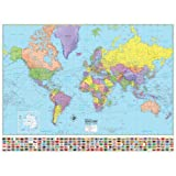 Universal Map Advanced Political World Wall Map - Laminated by American Map