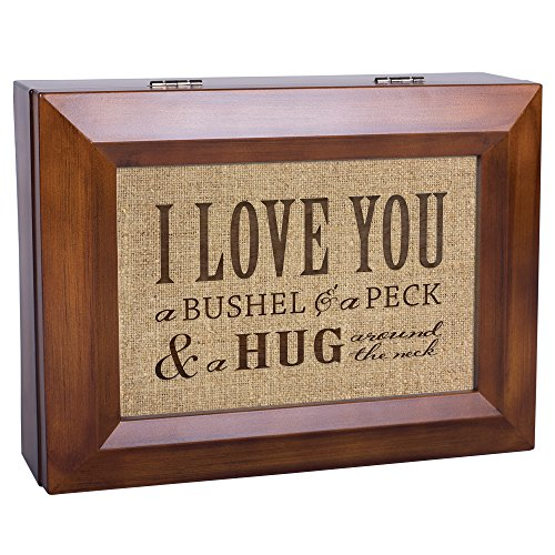 I Love You A Bushel & A Peck Wood Finish Jewelry Music Box - Plays Tune You Are My Sunshine by Cottage Garden (Image #2)